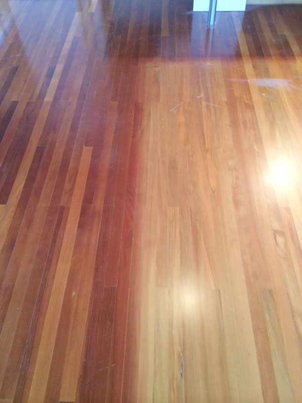 Old Polyurethane And When The Floor Is Back To Bare Timber Lighter Coloured Areas Actually Original Colour Of First Finished
